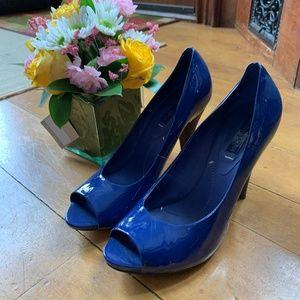 BCBG Patent Leather Blue Peep Toe Heels